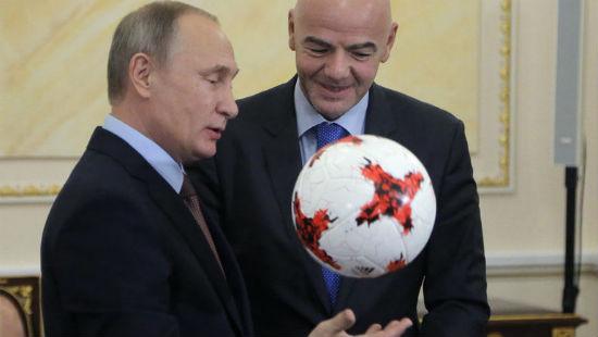 Image result for Путин и Инфантино сыграли в футбол в Кремле